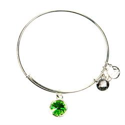 August Peridot Birthstone in Shiny Silver