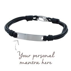 myMantra Personalised Men's Bracelet - Black Multi-strand Leather