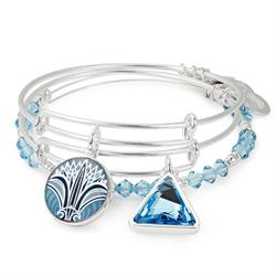 Blue Lotus Set of 3 Bangles in Shiny Silver