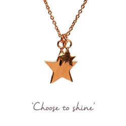 Double Star Mantra Necklace in Rose Gold