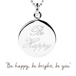 Buy Be Happy Mantra Necklace in Silver