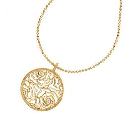 18ct Gold Vermeil Wild Rose Disc Pendant by Dower and Hall