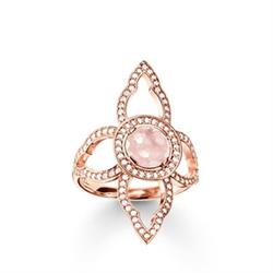 Rose Gold and Rose Quartz Lotus Flower Ring 56
