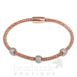 Pure Attraction Rose Gold Medium Mesh Bracelet with CZ Clasp