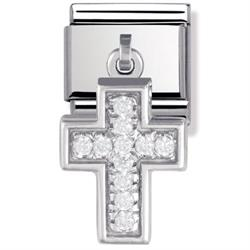 Buy Nomination Silver Hanging Cross Charm with CZ Embellishment