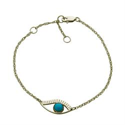 Jennifer Zeuner Priscilla Turquoise Eye Bracelet in Gold