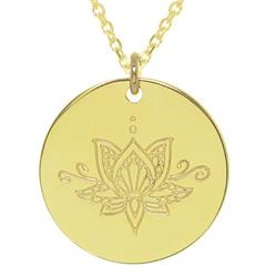 Gold Ornate Lotus Personalised Necklace 80cm