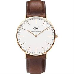 Daniel Wellington St Andrews Rose Gold Brown Leather Gents Watch