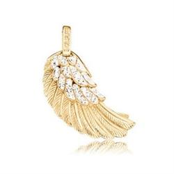 Gold Angel Wing Pendant with CZ Medium