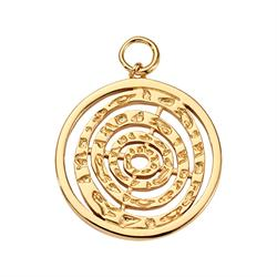Gold Hammered Spiral Amulet