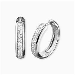 Nina Hoop Earrings in Sterling Silver with CZ