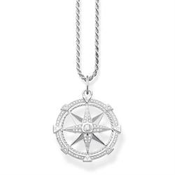 Thomas Sabo Sterling Silver CZ Compass Necklace