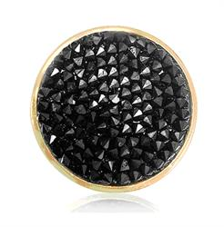 Gold Black Rock Crystal Coin 33mm