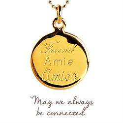 Friend, Amie, Amica Mantra Necklace in Gold