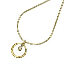 Dower and Hall 18ct Gold and White Topaz Circle Dewdrop Necklace