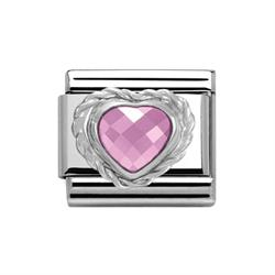 Pink Faceted Heart Charm