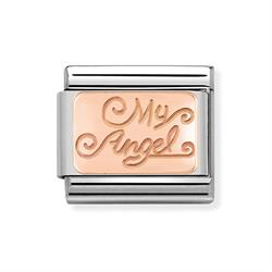 Rose Gold 'My Angel' Plaque Charm