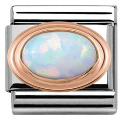 Rose Gold White Opal Charm