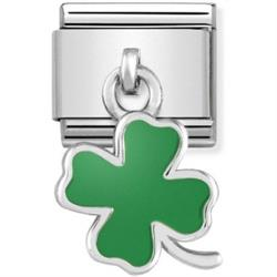Hanging Green Clover Charm by Nomination