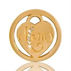 Gold Mom in Heart Coin 23mm