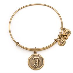 F Initial Bangle in Rafaelian Gold