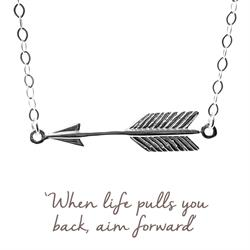 Arrow Mantra Necklace in Silver