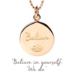 Mantra Believe Necklace in Rose Gold