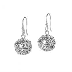 Silver Wild Rose Sphere Drop Earrings