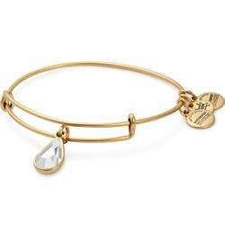 April Crystal Birthstone bangle in Rafaelian Gold Finish
