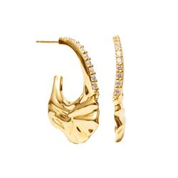 Gold Vulcanello Slim Hoop Earrings with White CZ