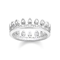 Thomas Sabo Sterling Silver CZ Crown Ring Size 54