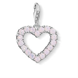 Silver Rose Quartz Open Heart Charm