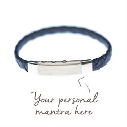 myMantra Personalised Men's Bracelet - Navy Blue Leather