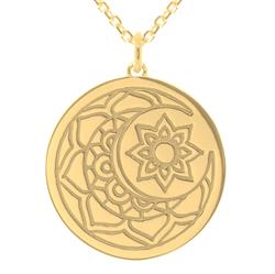 Yellow Gold Moon and Sun Necklace 80cm