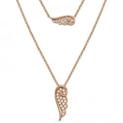 Rose Gold Double CZ Angel Wing Necklace