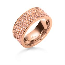 Folli Follie Chunky Rose Gold & Champagne Ring Size 52
