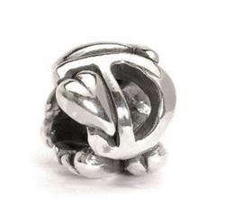Letter D Silver Charm Bead