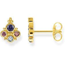 Gold Coloured Stone Studs by Thomas Sabo