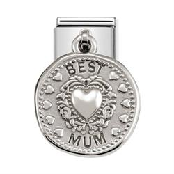 Silver Hanging Best Mum Charm