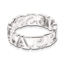 Silver Toned Happiness Ring 58