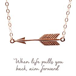 Arrow Mantra Necklace in Rose Gold