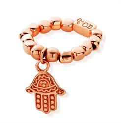 Decorated Rose Gold Hamsa Ring Standard