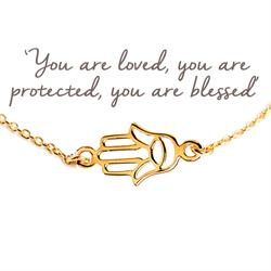 Buy Hamsa Hand Mantra Bracelet in Gold