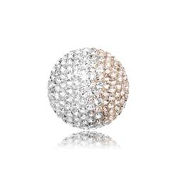 Rose and White Crystal Sound Ball Medium