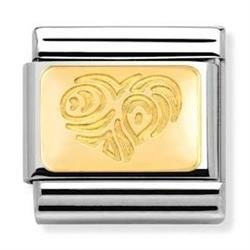 Gold Tribal Heart Charm