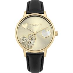Daisy Dixon Gold CZ Hollie Black Leather Watch
