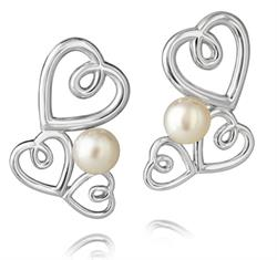 Jersey Pearl Kimberly Selwood Hearts Earrings