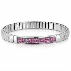 Silver and Pink Swarovski Extension Bracelet by Nomination