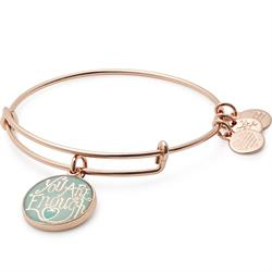 You Are Enough Bangle in Shiny Rose Gold