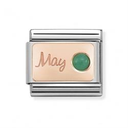 Rose Gold May Emerald Charm